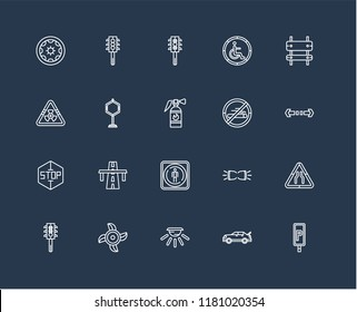 Set Of black 20 linear icons such as Parking, Turn, Rectangle and arrow, Handicapped, Semaphore, Semaphore traffic lights, Parking Lights, Biohazard risk triangular, editable stroke vector icon pack