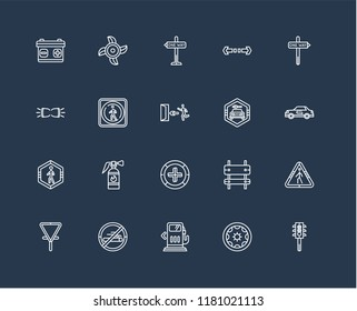 Set Of black 20 linear icons such as Semaphore, Recirculation, One way right arrow, Turn, Give way, Ventilating Fan, Rectangle and Parking Lights, editable stroke vector icon pack