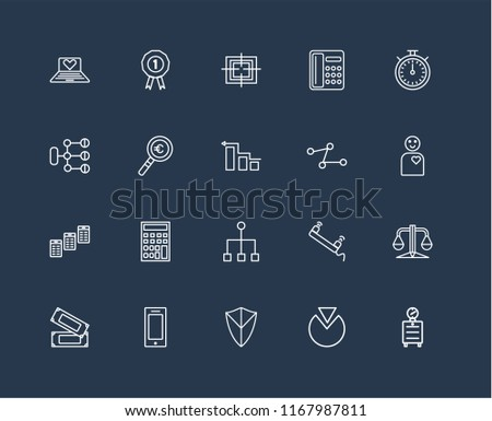 set of black 20 linear icons such as alarm clock, employee, chronometer,  telephone, money, prize, phone call, diagram, editable stroke vector icon  pack -