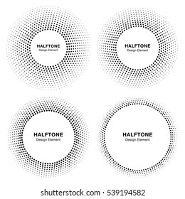 Set of  Black Abstract Circle Frame Halftone Dots Logo Design Elements for medical treatment, cosmetic. Circle Border Icon halftone square dot vector elements. Halftone circle emblem vector.