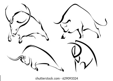 Set of black abstract images of wild bulls. Buffalo on a white background. Vector illustration