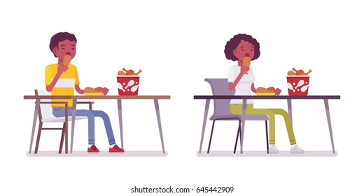 Set of Black or African American young man and woman, sitting eating at the table, enjoying, fried chicken bucket on it, relaxing, vector flat style cartoon illustration, isolated, white background