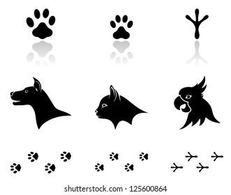 Set of black animal icons on white background, illustration.