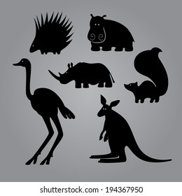 Set of black animal templates for your design