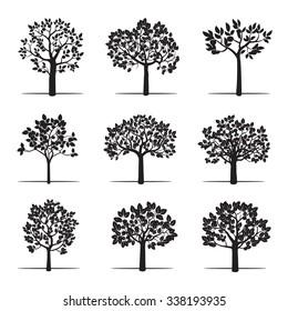 Set of Black Apple Trees. Vector Illustration.