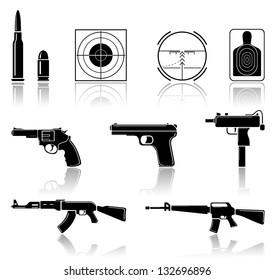 Set of black arms icons on white background, illustration.
