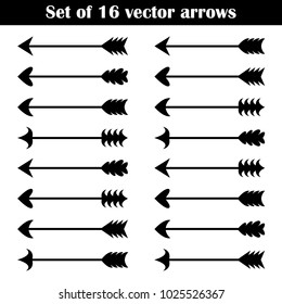 Set of black arrows for bow. Hipster geometric vector elements.