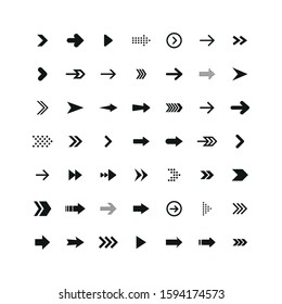Set of black arrows. Collection of different styles. Vector illustration.