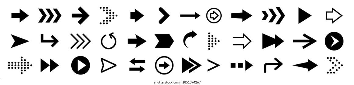 Set of black arrows icons, arrow vector collection, cursor, modern simple arrows vector illustration
