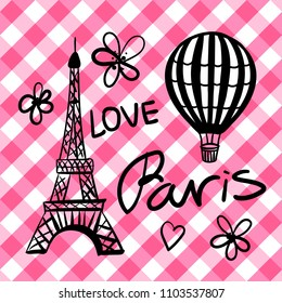 Set black Balloon and hand draw Paris Eiffel Tower isolated on the checkered pink vichy texture