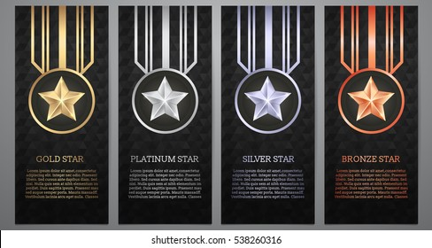 Set of black banners, Gold, platinum, silver and bronze star, Vector illustration.