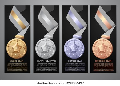 Set of black banners, Gold, platinum,silver and bronze medal, Vector illustration.