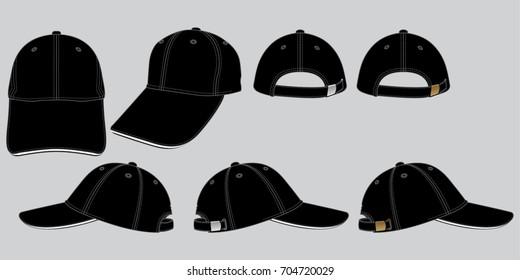 Set Black Baseball Cap vector for Template.