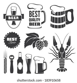 Set of black beer signs and symbols in vector