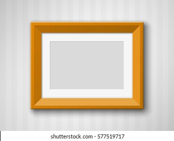 Set of Black Blank Picture Frames A3, A4 sizes, hanging on a color Wall from the Front. Design empty Template for Mock Up. Vector illustration