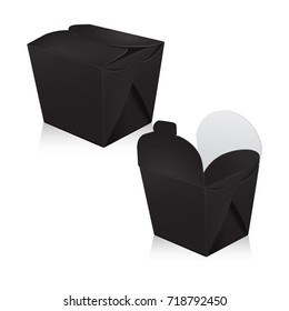 Set of black blank wok box mockup. Vector 3d packaging. Carton box for asian or chinese take away food paper bag for your design