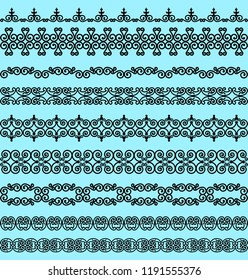 Set of black borders on a blue background