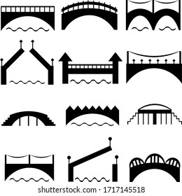 A set of black bridge silhouettes. Modern and retro architecture. Road across the river. Vector icons.