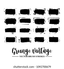 Set of black brush stroke and texture. Grunge vector abstract hand - painted element. Underline and border.