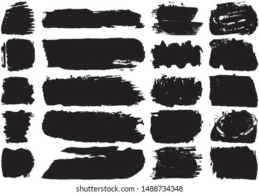Set of black brush strokes with a dry brush