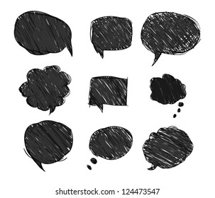 set of black bubbles for speech, eps 10