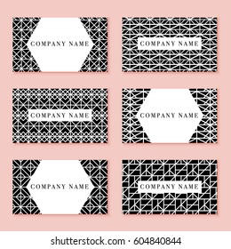 Set of black business cards with geometrical texture. Vector pattern are seamless and make mask for easy editing