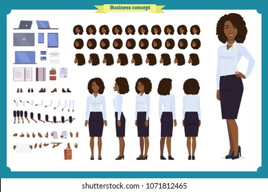 Set of Black Businesswoman character design.Front, side, back view animated character.Business girl character creation set with various views, poses and gestures.Cartoon style, flat vector isolated.