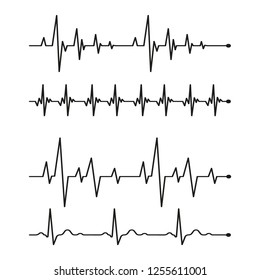 Set black cardiogram lines isolated on white background.