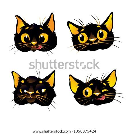 Set Black Cat Emoticons Cat Emoji Stock Vector Royalty Free