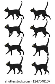 Set of black cat icon collection. Black cat poses for walk animation preset. Flat vector illustration isolated on white background.
