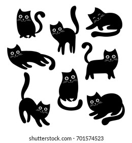 Set of black cats. Collection of cartoon cats for Halloween. Lovely playing black kittens. Vector illustration of pet pets. Logo of the cat.