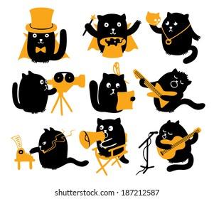 Set Of Black Cats. Creative Professions
