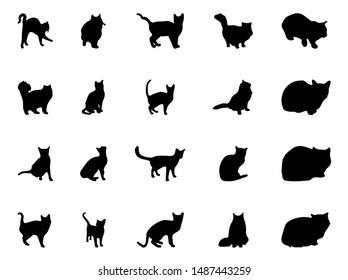 Set of black cats icons in different poses in isolate on a white background. Vector graphics.