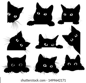 Set of black cats looking out of the corner. Collection of cat faces that spy on you. Playing pets. Tattoo.