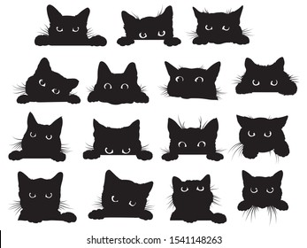 Set of black cats looking out of the corner. Collection of halloween cats  that spy on you. Playing pets. Tattoo.