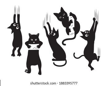 Set of black cats scratching the wall. Collection of silhouettes of funny kitten climbing the wall. Set of peeking cat. Vector illustration of a pet for kids. Tattoo.