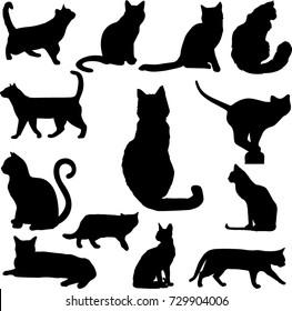 Nice Set Of Black Cats Silhouettes Isolated On White Background. Vector  Illustration, Icons, Clip