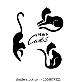 Set of Black Cats Sitting and Looking Away, Lying and Walking. Vector Logo with Negative Space. Laconic Symbol for Icons, Logos, Badges and Emblems. Friday 13th Sign