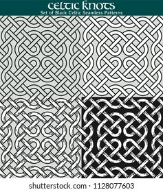 Set of Black Celtic Seamless Patterns. 4 different versions of a seamless pattern with Celtic knots: with white filling, without filling, with shadows and with a black background.