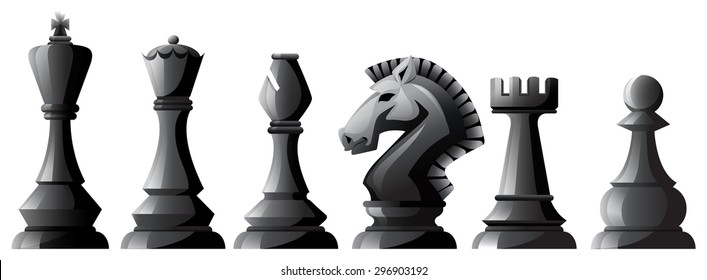 Set of black chess in classic design