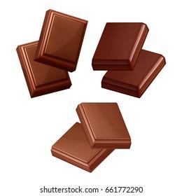 Set of black chocolate bar isolated on white background.