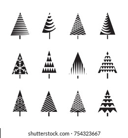 Set of Black Christmas Trees Icons.