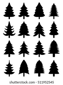 Set of black  Christmas trees, vector silhouettes