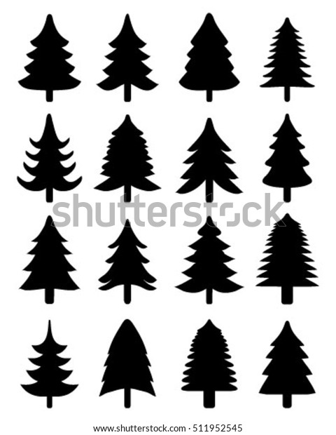 Set Black Christmas Trees Vector Silhouettes Stock Vector Royalty