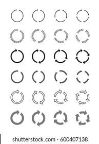 Set of black circle arrows. Vector signs.