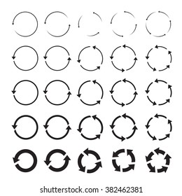 set of black circle vector arrows