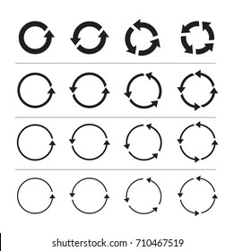Set of black circle vector arrows. Round motion arrow symbol of recycling continuity and circulation. Vector selected icons on a white background.