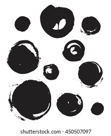Set of black circles, grunge brush strokes. Collection of different circle shapes, smear, stain.