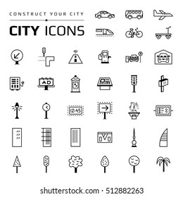 Set of black city icons. Group of flat symbols for construction of modern smart city. Collection of town pictograms. Infographic elements. Urban objects, transports, houses, trees, street things.