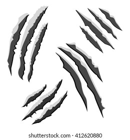 Set of black claw scratches isolated on white background. Vector scratch cat illustration eps10